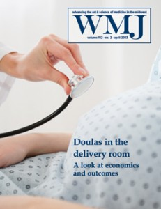 WMJ magazine cover. Doulas in the delivery room: A look at economics and outcomes