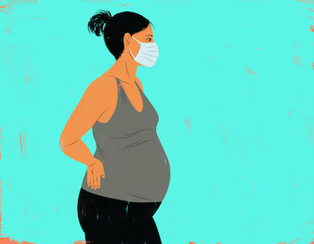 color drawing of pregnant woman with hospital mask - jpg