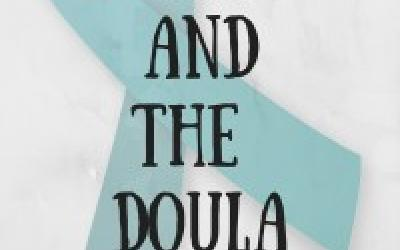 Birthrape and the Doula. Text over turquoise ribbon image.