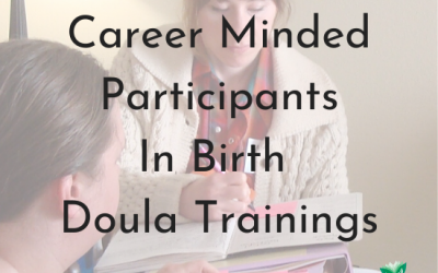 Career Minded Participants in Birth Doula Trainings. Text over image of counselor. - png