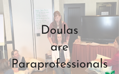 Doulas are Para-Professionals. Text over image of Doula performing prenatal massage therapy. - png
