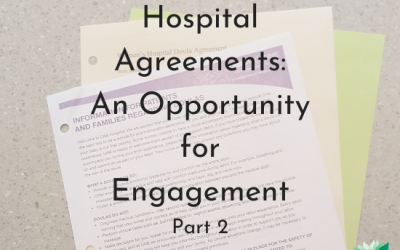 Hospital Doula Agreements an Opportunity for Engagement. Text on image of documents - png