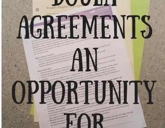 Hospital Doula Agreements an Opportunity for Engagement. Text on image of documents